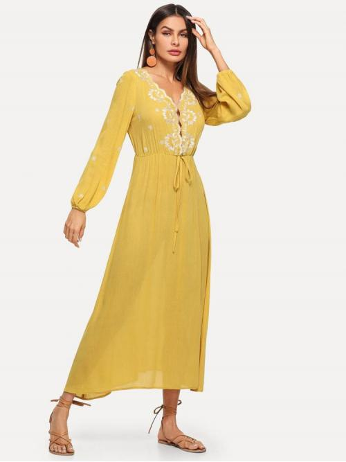 Yellow Plants Embroidery Deep V Neck Botanical Dress Ladies