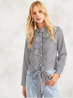 Striped Shirt Regular Fit Collar Long Sleeve Placket Black and White Regular Length Button Front Collar Neck Striped Top