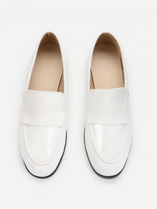 Discount Corduroy White Loafers Buckle Slip on Flats
