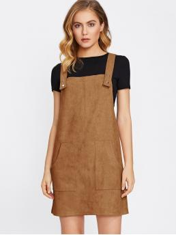 Brown Plain Pocket Straps Patch Overall Dress on Sale