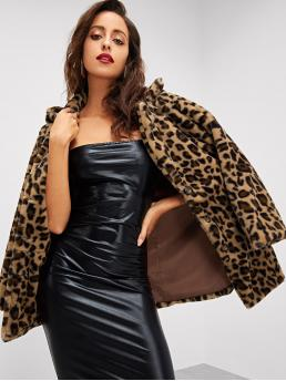 Leopard Long Sleeve Multicolor Regular Length Leopard Print Faux Fur Coat