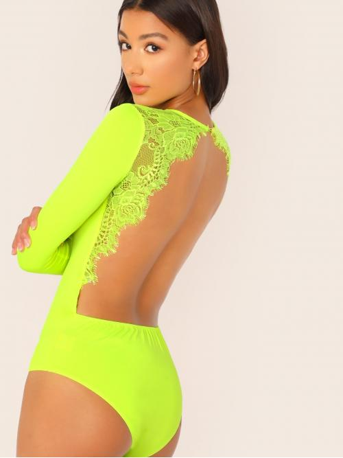 Sexy Tee Plain Skinny Round Neck Long Sleeve Mid Waist Green and Bright Neon Lime Lace Trim Open Back Fitted Bodysuit