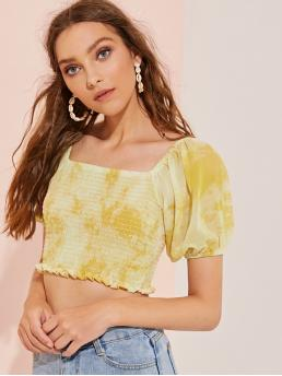 Casual Tie Dye Top Slim Fit Square Neck Short Sleeve Bishop Sleeve Pullovers Multicolor Crop Length Shirred Ruffle Hem Square Neck Blouse