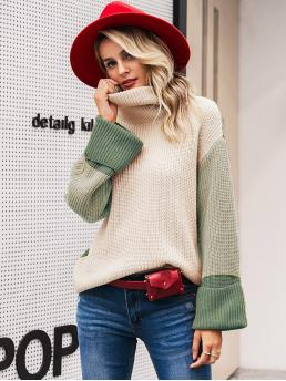 Casual Colorblock Pullovers Oversized High Neck Long Sleeve Regular Sleeve Pullovers Multicolor Regular Length Simplee Color-block Turtle Neck Jumper