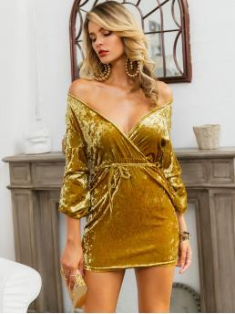 Glamorous and Sexy Bodycon Plain Slim Fit Off the Shoulder and Deep V Neck Long Sleeve Bishop Sleeve High Waist Yellow Short Length Glamaker Gathered Sleeve Belted Velvet Dress with Belt