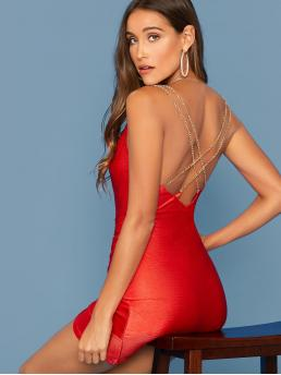 Glamorous and Sexy Bodycon Plain Asymmetrical Slim Fit Spaghetti Strap Sleeveless Natural Red and Bright Short Length Chain Strappy Back Draped Front Ruched Dress