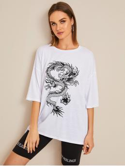 Casual Animal Oversized Round Neck Three Quarter Length Sleeve Regular Sleeve Pullovers White Regular Length Dragon Print Drop Shoulder Oversized Tee