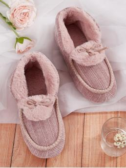 Comfort Slippers Round Toe Pink Bow Decor Faux Fur Lined Slippers