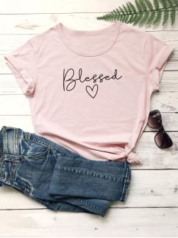 Casual Letter and Heart Regular Fit Round Neck Short Sleeve Regular Sleeve Pullovers Pink and Pastel Regular Length Letter Graphic Short Sleeve Tee