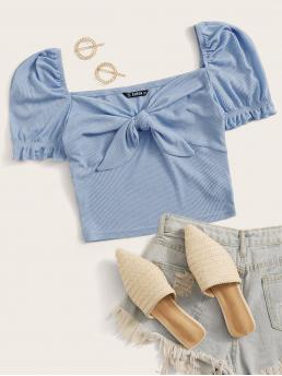 Cute Plain Slim Fit Sweetheart Short Sleeve Pullovers Blue and Pastel Crop Length Puff Sleeve Tie Front Rib-knit Top