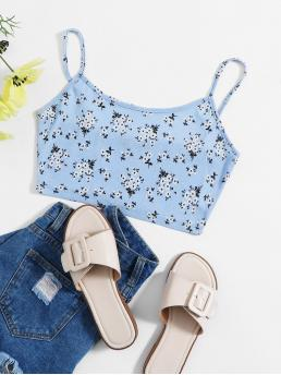 Casual Cami Ditsy Floral Slim Fit Spaghetti Strap Baby Blue Crop Length Ditsy Floral Crop Cami Top