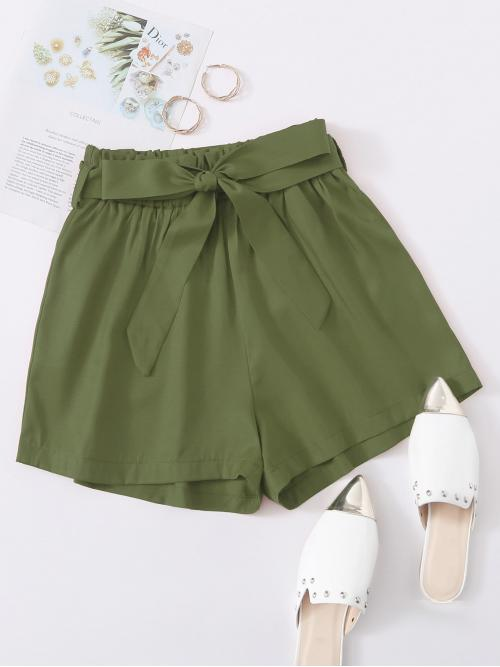 Casual Wide Leg Plain Loose Elastic Waist High Waist Army Green Solid Wide Leg Shorts With Belt with Belt