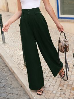 Sale Dark Green High Waist Paper Bag Waist Wide Leg Button Pants