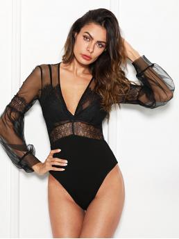 Shopping Long Sleeve Tee Sheer Polyester Plunging Lace Insert Mesh Bodysuit