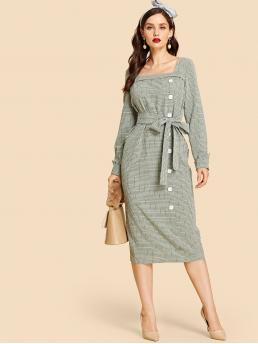 Vintage Fitted Plaid Straight Regular Fit Square Neck Long Sleeve Natural Black and White Long Length Zip Back Button Up Belted Plaid Dress with Belt