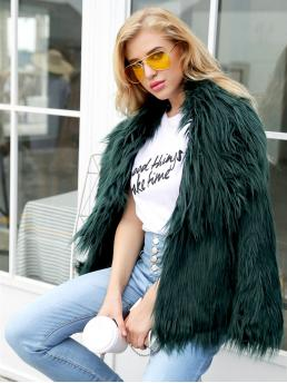 Glamorous Faux Fur Plain Regular Fit Waterfall Long Sleeve Green Regular Length Solid Faux Fur Outerwear with Lining