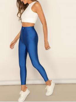 Glamorous Plain Blue and Bright Cropped Length Button Front Neon Blue Crop Leggings