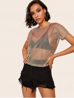 Glamorous and Sexy Regular Fit Short Sleeve Pullovers Multicolor Regular Length Metallic Mesh Top Without Bra