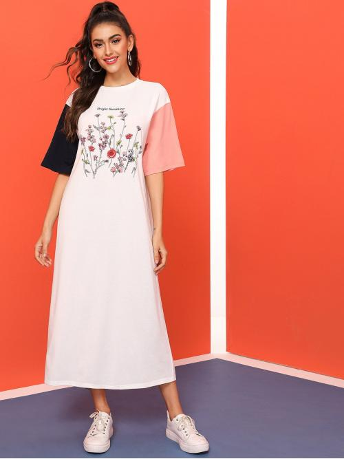 Casual Tee Floral and Slogan Straight Loose Round Neck Half Sleeve Natural White Long Length Slogan and Botanical Print Colorblock Dress