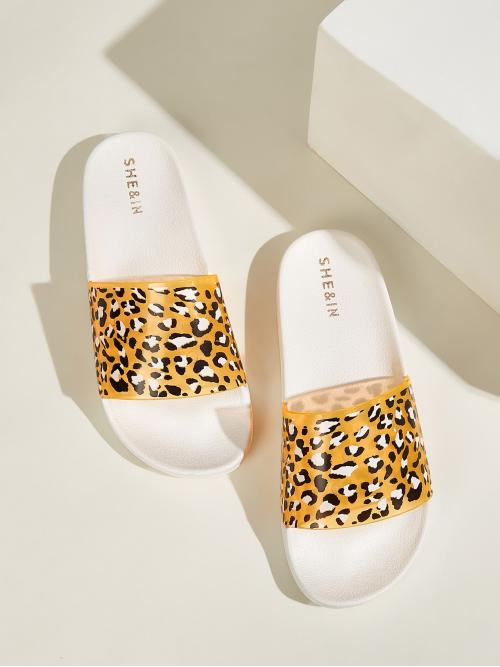 Comfort Leopard Multicolor Open Toe Leopard Print Slippers