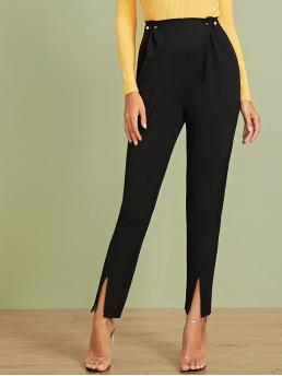 Elegant Plain Tapered/Carrot Regular Zipper Fly High Waist Black Long Length Pearl Pin Detail Waist Split Hem Pants