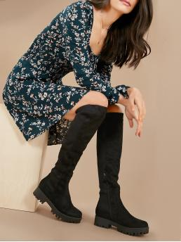 Comfort Other Almond Toe Plain Side zipper Black Block Heel Lug Sole Over The Knee Stretch Boots