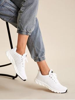 Comfort Round Toe Letter White Letter Graphic Lace-up Front Sneakers