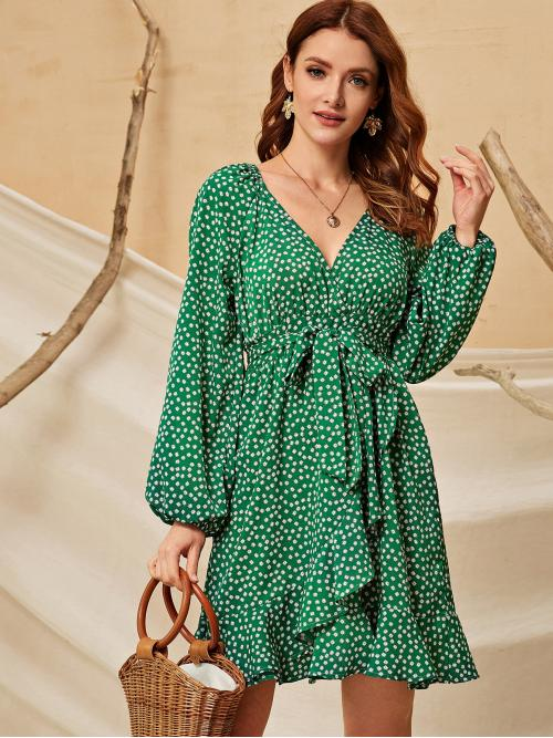 Casual A Line Ditsy Floral Flounce Regular Fit V neck Short Sleeve Bishop Sleeve High Waist Green Short Length Ditsy Floral Belted V-Neck Dress with Belt