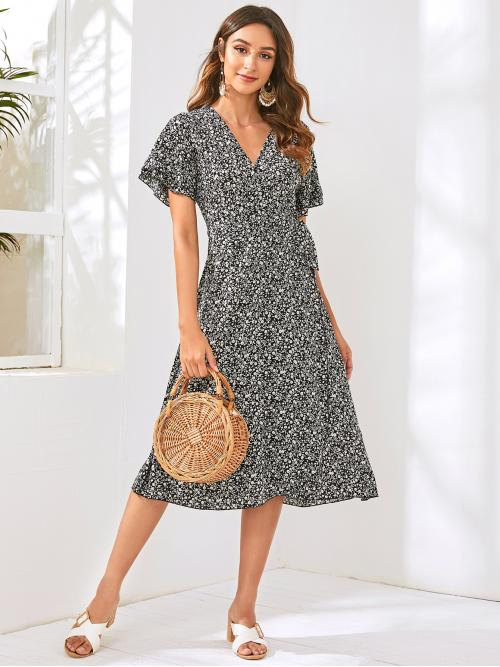 Boho A Line Ditsy Floral Wrap Regular Fit V neck Short Sleeve Butterfly Sleeve Natural Black Long Length Ditsy Floral Print Wrap Knotted Dress with Belt