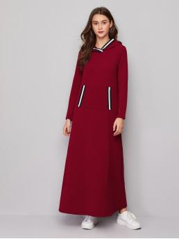 Burgundy Striped Tape Hooded Pocket Front Contrast Dress Trending now