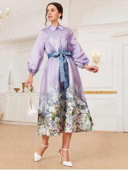 Multicolor Floral Button Peter Pan Collar Lantern Sleeve Dress Ladies