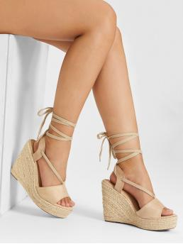 Corduroy Apricot Flatfrom Shoes Buckle Peep Toe Wedge Sandals on Sale