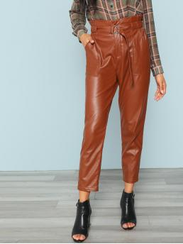 Brown Plain Belted Collar Side Pocket Pants Sale