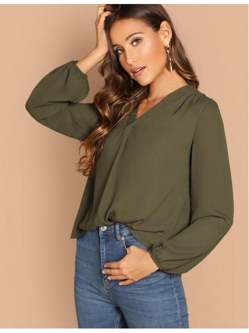 Beautiful Long Sleeve Top Contrast Mesh Satin Gathered Shoulder Blouson Sleeve Top
