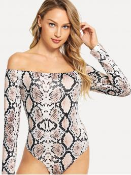Sexy Animal Skinny Off the Shoulder Long Sleeve Mid Waist Multicolor Slim Fitted Snake Print Off Shoulder Bodysuit