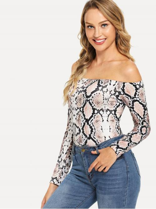 Womens Long Sleeve Tee Cut out Polyester Slim Fitted Snake Print Bodysuit