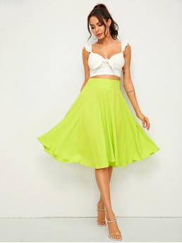 Elegant Flared Plain High Waist Green and Bright Midi Length Neon Lime Wide Waistband Flare Skirt
