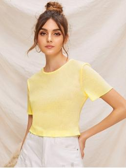 Casual Plain Regular Fit Round Neck Short Sleeve Pullovers Yellow and Pastel Crop Length Solid Short Sleeve Rib-knit Tee