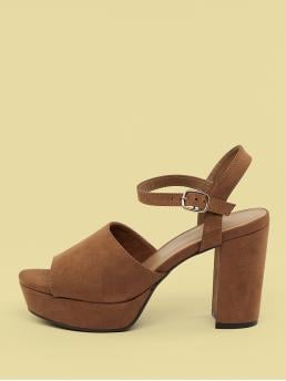 Glamorous Peep Toe Plain Camel High Heel Chunky Open Toe Block Heel Platform Sandals