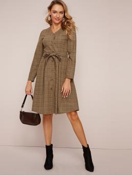 Elegant Shirt Plaid Flared Regular Fit V neck Long Sleeve Puff Sleeve High Waist Khaki Midi Length Plaid Button Front Belted Midi Shirt Dress with Belt