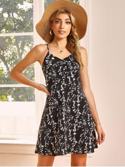 Black and White Floral Zipper Spaghetti Strap Ruched Front Dress on Sale