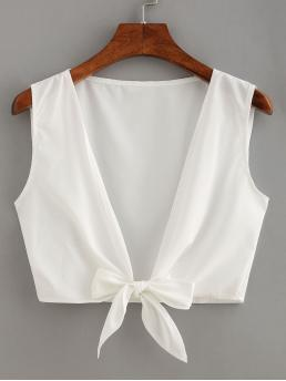 Boho and Sexy Tank Plain Regular Fit Deep V Neck White Crop Length Knot Front Crop Top