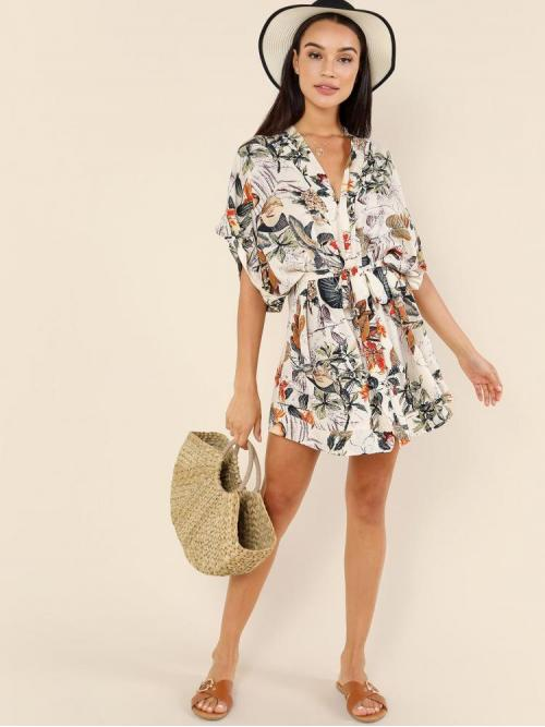 Fashion Multicolor Tropical Belted V Neck Self Belt Kimodress