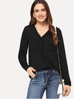 Long Sleeve Shirt Button Polyester Revere Collar Pocket Front Chiffon Blouse Ladies