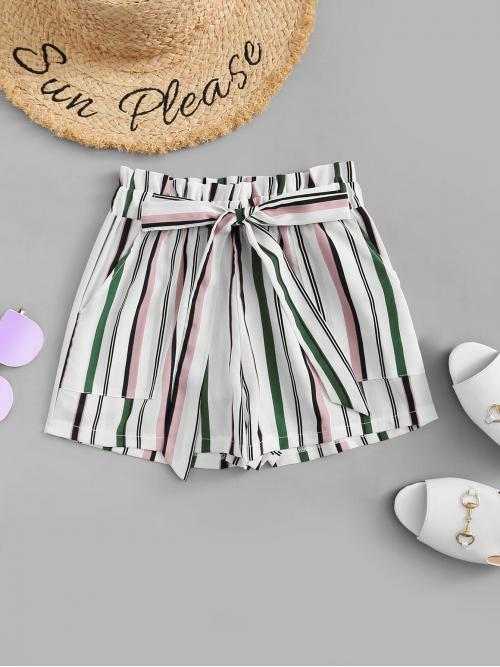 Sale Multicolor Natural Waist Belted Wide Leg Frill Self Tie Waist Shorts