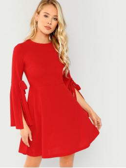 Red Plain Knot Round Neck Split Bell Sleeve Pleated Solid Dress on Sale