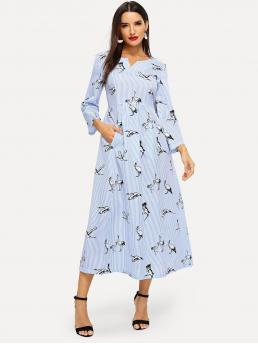 Casual A Line Striped and Animal Fit and Flare Sweetheart Long Sleeve Regular Sleeve High Waist Blue Long Length V-Cut Neck Mixed Print High Waist Dress