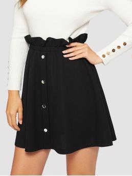 Casual A Line Plain High Waist Black Above Knee/Short Length Paperbag Waist Button Front Skirt