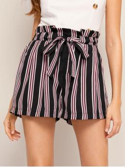 Casual Striped Regular Elastic Waist Mid Waist Multicolor Striped Tie Front Paperbag Shorts