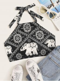 Boho Halter Animal and Tribal Regular Fit Halter Top Black and White Crop Length Aztec Print Tie Back Halter Crop Top